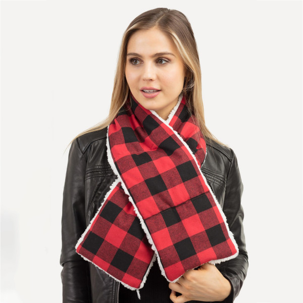 "Buffalo check sherpa quilted scarf.  - Approximately 7"" W x 49"" L - 100% Polyester"