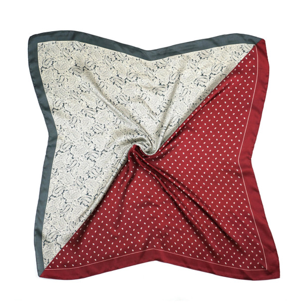 "Half paisley half polka dotted bandana scarf.  - Approximately 27.5"" x 27.5""  - 100% Polyester"