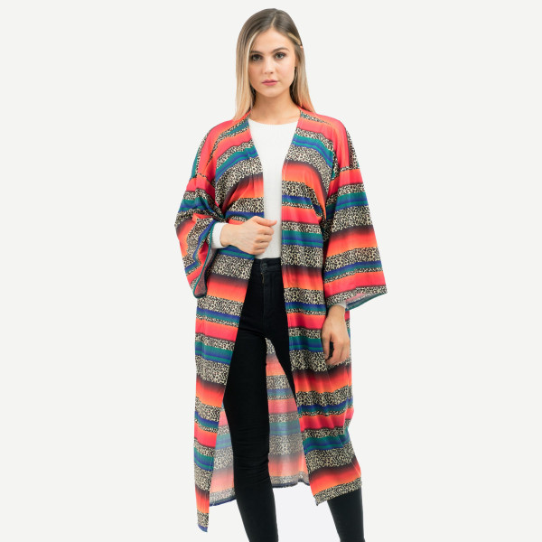 "Leopard print serape maxi kimono.  - Approximately 51"" in length - 100% Polyester"