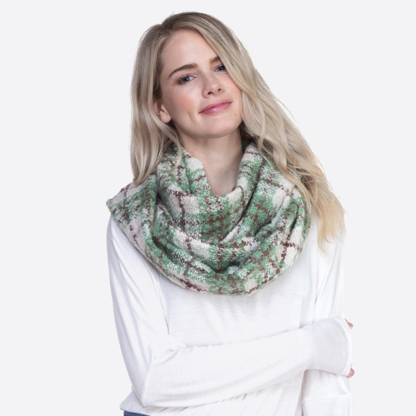 "Color blocked plaid infinity scarf.  - Approximately 21.5"" W x 33"" L - 100% Polyester"