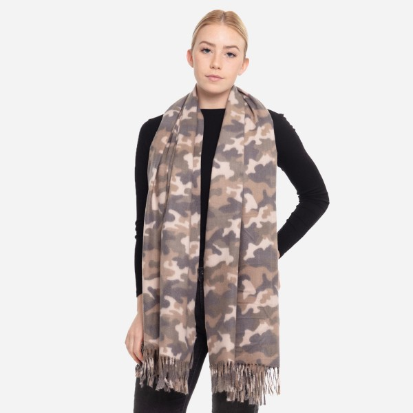 "Camo oblong scarf with fringes.  - Approximately 26"" W x 78"" L - 100% Polyester"