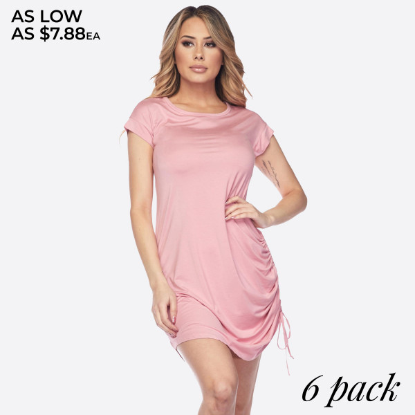 "Short sleeve solid tunic dress featuring a adjustable side drawstring. Approximately 38"" in length.   • Round neckline  • Scooped hem  • Soft and comfortable  • Imported   - Pack Breakdown: 6pcs / pack  - Sizes: 2S / 2M / 2L  - Composition: 95% Rayon, 5% Spandex"
