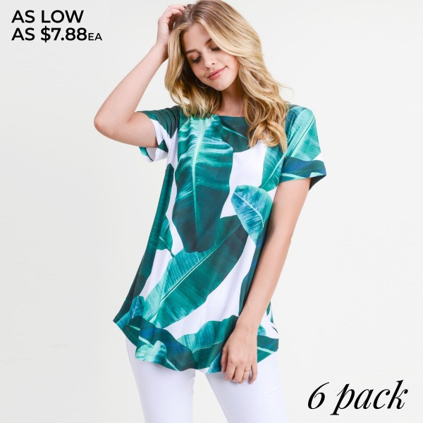 """Palm leaf print short sleeve tunic top. Approximately 28"""" in length.  • Short sleeves  • Round neck  • Palm leaf print  • Scooped hem  • Soft and stretchy  • Perfect for styling with jeans or shorts  • Imported   - Pack Breakdown: 6pcs / pack  - Sizes: 2S / 2M / 2L  - Composition: 95% Polyester, 5% Spandex"""