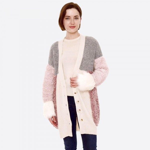 "Color block sherpa fur cardigan with button down details.  - One size fits most 0-14 - Approximately 28"" in length - 56% Acrylic, 27% Nylon, 17% Elastane"
