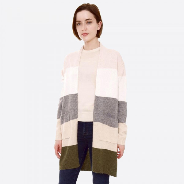 "Color block stripe knit cardigan with front pocket details.  - One size fits most 0-14 - Approximately 32"" L - 90% Acrylic, 10% Polyester"