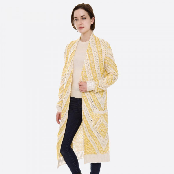 "Long two tone open knit cardigan with pocket details.  - One size fits most 0-14 - Approximately 40"" L - 100% Acrylic"