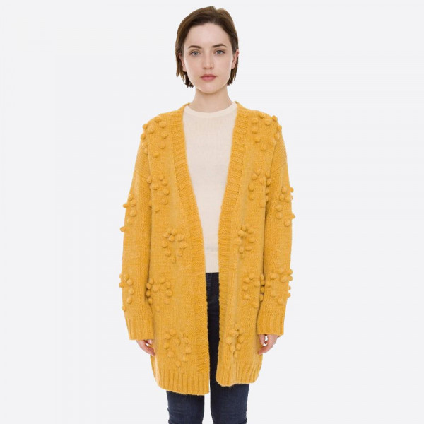 """Knit cardigan with pom pom details.   - One size fits most 0-14 - Approximately 30"""" in length - 50% Acrylic, 50% Polamide"""