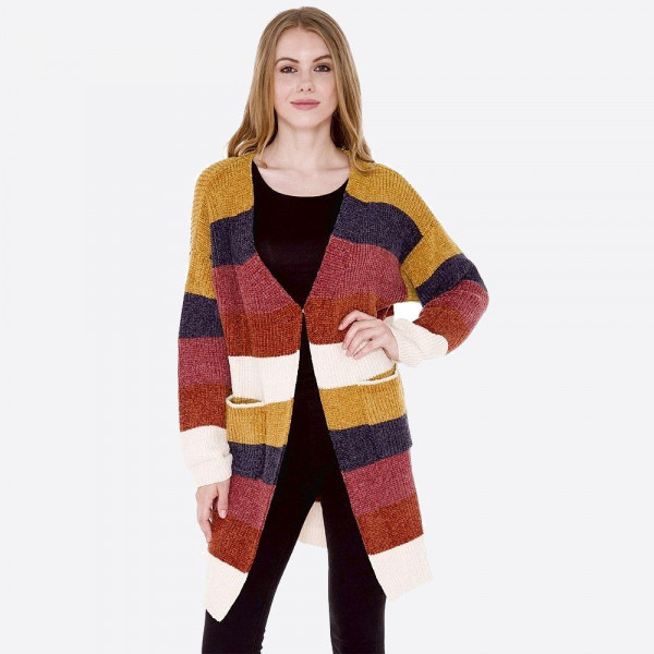 "Color-Blocked chenille long cardigan with front pockets.  - One size fits most  - Approximately 31"" in length  - Composition: 100% Polyester"