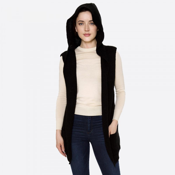 "Solid color marled knit hooded vest with front pockets.  - One size fits most 0-14 - Approximately 30"" L  - 100% Acrylic"