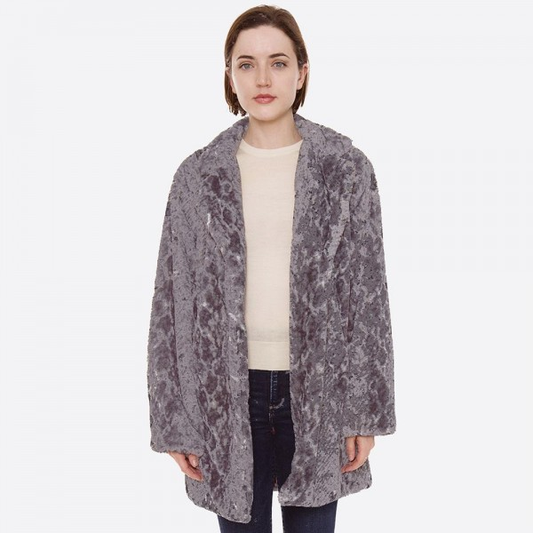 """Faux fur snakeskin coat with crepe satin inside lining.  - Two functional side pockets - Button closure - One size fits most 0-14 - Approximately 32"""" L - 100% Polyester"""