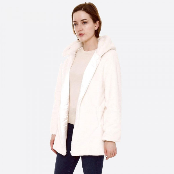 """Hooded faux fur coat with crepe satin inside lining.  - Two functional side pockets - Hook and eye closure - One size fits most 0-14 - Approximately 29"""" in length - 100% Polyester"""