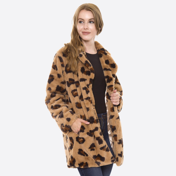 "Faux fur leopard print coat with hook and eye closure and pocket details.  - One size fits most 0-14 - Approximately 33"" in length - 100% Polyester"