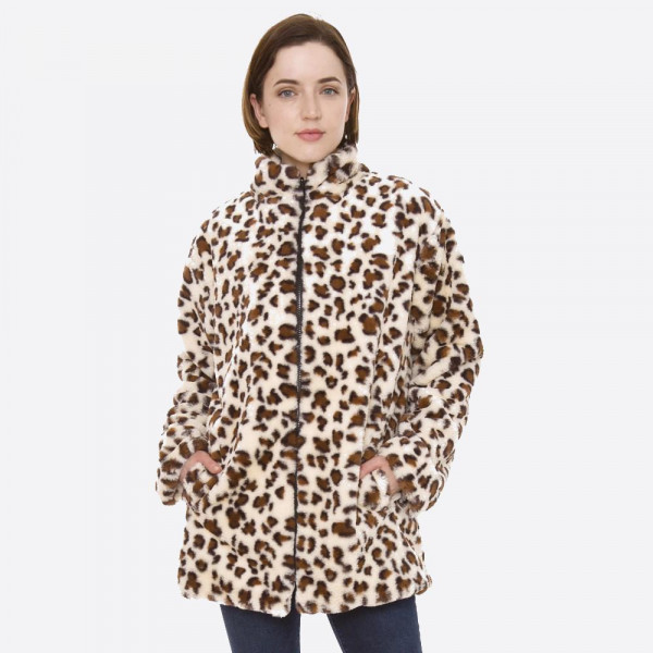 """Faux fur leopard print coat with zipper closure and pocket details.  - One size fits most 0-14 - Approximately 29"""" in length - 100% Polyester"""