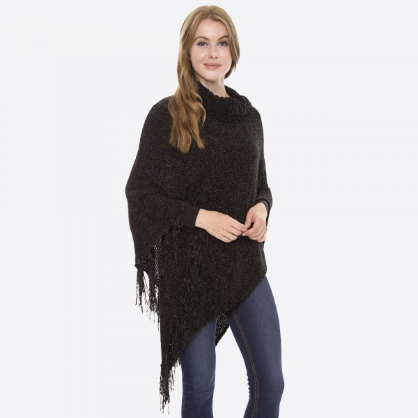 "Chenille knit turtleneck poncho with fringe tassels.  - One size fits most 0-14 - Approximately 37"" L - 100% Acrylic"