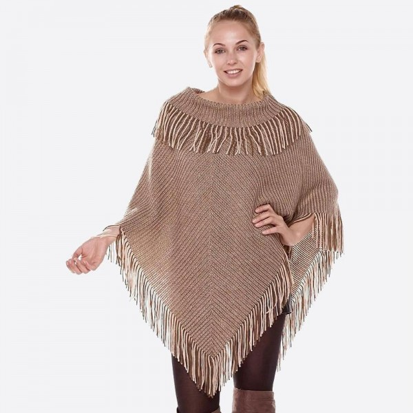 "Two color blended novelty knit poncho with fringes.  - One size fits most 0-14 - Approximately 35"" in length - 100% Acrylic"