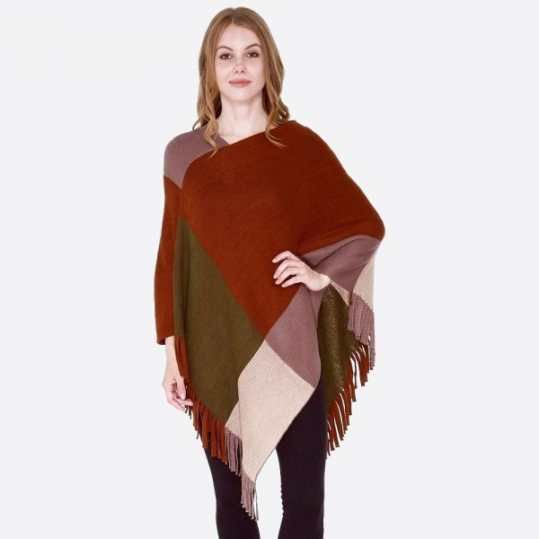 "Color block knit poncho with fringes.  - One size fits most 0-14 - Approximately 36"" L - 100% Acrylic"