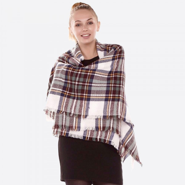 "Plaid blanket scarf.  - Approximately 58"" W x 58"" L - 100% Acrylic"