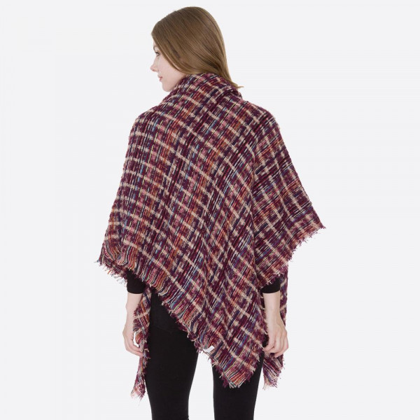 """Multicolor blanket scarf with short fringes.  - Approximately 53"""" W x 53"""" L - 100% Acrylic"""