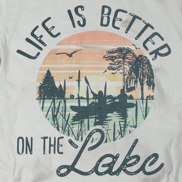 "New Silver American Apparel short sleeve graphic boutique t-shirt featuring ""Life is Better on the Lake"".  - Pack Breakdown: 6pcs / pack  - Sizes: 1-S / 2-M / 2-L / 1-XL  - Composition: 50% Cotton, 50% Polyester"