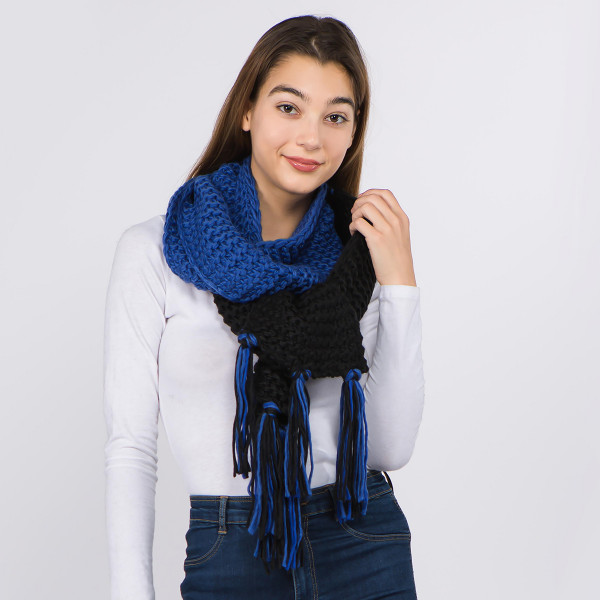 "Two tone chunky knit scarf with fringes.  - Approximately 9"" W x 84"" L - 100% Acrylic"