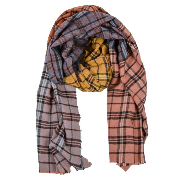 """Multicolor patch plaid print blanket scarf with raw edges.   - Approximately 40"""" W x 40"""" L - 100% Acrylic"""