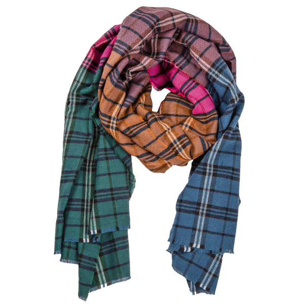 "Multicolor patch plaid print blanket scarf with raw edges.   - Approximately 40"" W x 40"" L - 100% Acrylic"
