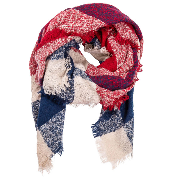 """Soft touch multicolor checkered print blanket scarf with frayed edges.  - Approximately 64"""" W x 56"""" L - 100% Polyester"""