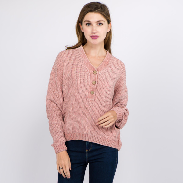 "Short solid color chenille knit v neck sweater featuring coconut button down details.  - One size fits most 0-14 - Approximately 22"" in length - 100% Polyester"