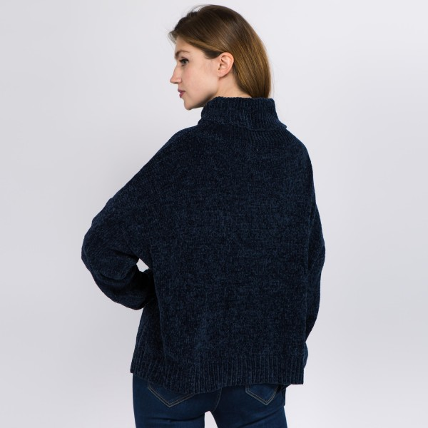 """Solid color chenille turtleneck sweater.   - One size fits most 0-14 - Approximately 21"""" in length - 100% Polyester"""