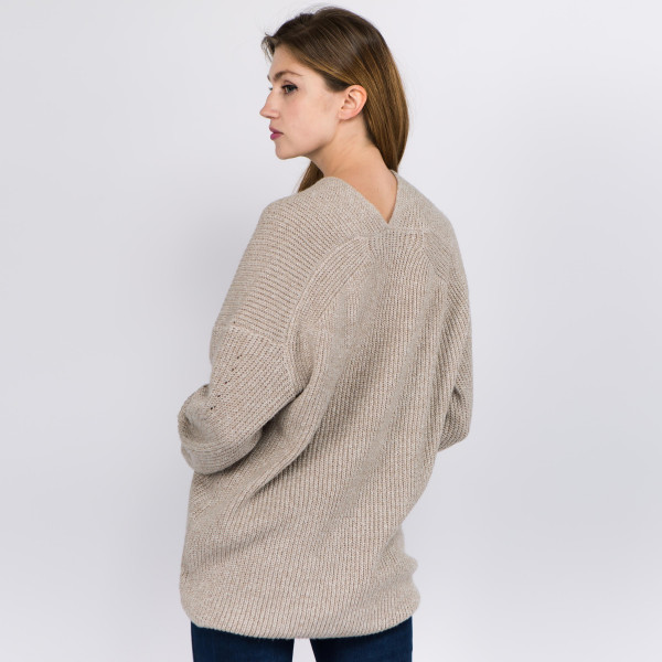 "Heather knit v neck sweater.  - One size fits most 0-14 - Approximately 27"" in length - 100% Polyester"
