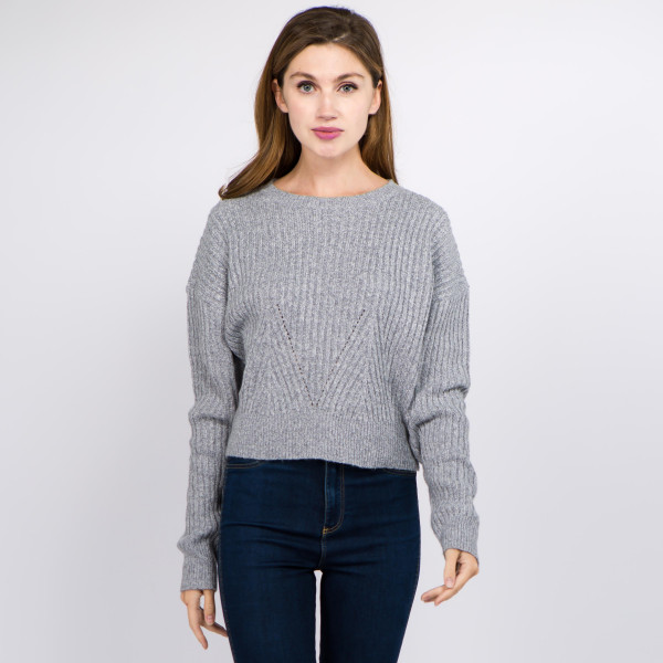 """Solid color heather knitted crop sweater.  - One size fits most 0-14 - Approximately 19"""" in length - 100% Polyester"""