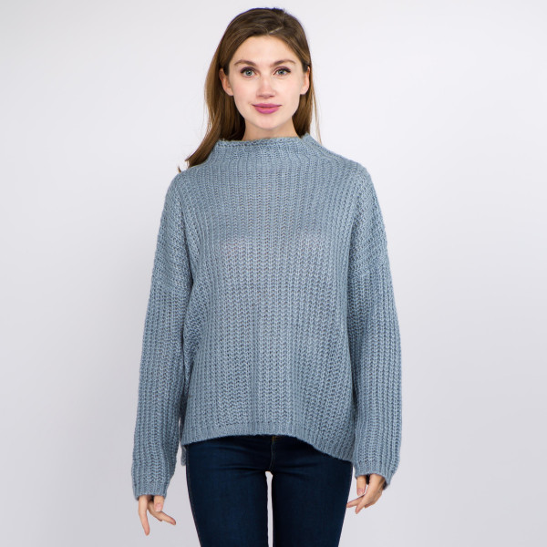 "Solid color chunky knit turtleneck sweater.  - One size fits most 0-14 - Approximately 22"" in length - 100% Acrylic"