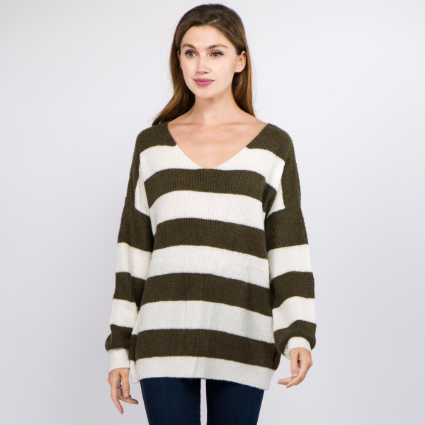 "Soft touch stripe knitted sweater.  - One size fits most 0-14 - Approximately 24"" in length - 70% Acrylic, 27"" Polyamide, 3% Spandex"