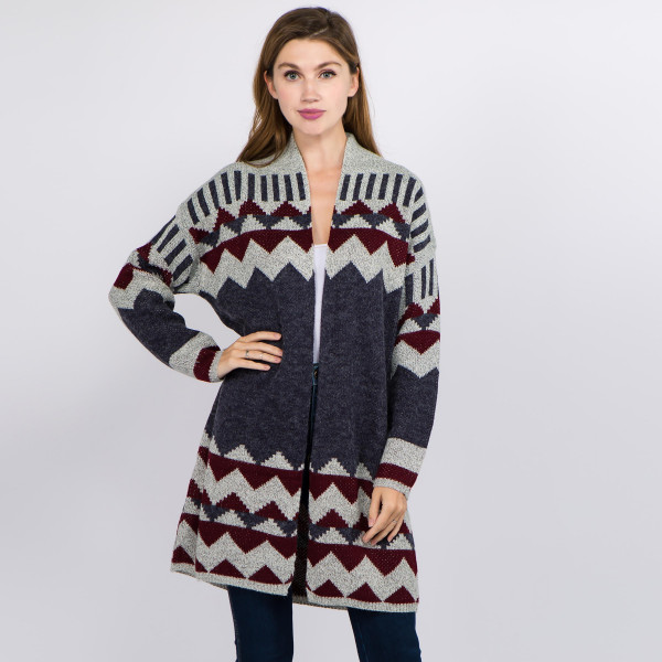 "Long geo print knit cardigan.  - One size fits most 0-14 - Approximately 35"" in length - 72% Acrylic, 20% Nylon, 8% Spandex"