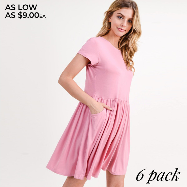 "Short sleeve solid color tunic dress with front pocket details. Approximately 34"" in length.  • Short sleeves  • Round neckline  • Two open side seam pockets  • Flare hem  • Soft and stretchy  • Knee length  • Perfect for styling with sandals or wedges  • Imported   - Pack Breakdown: 6pcs / pack  - Sizes: 2S / 2M / 2L  - Content: 95% Rayon, 5% Spandex"