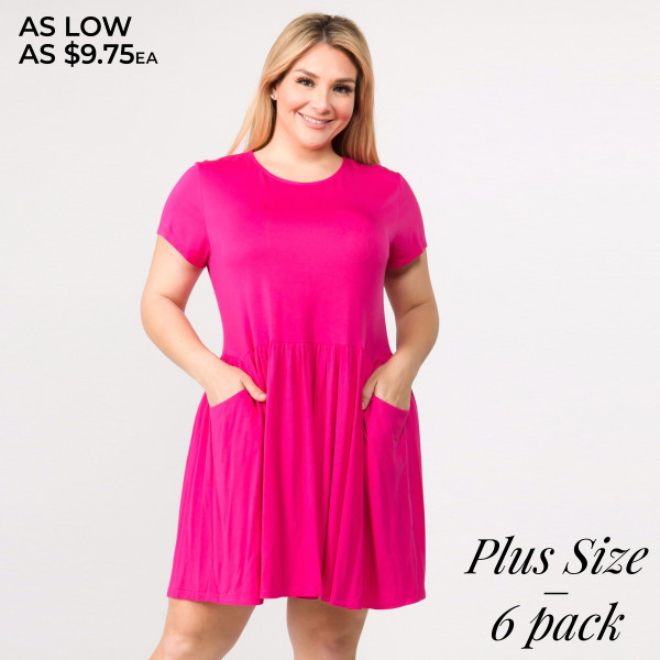 Solid color short sleeve plus size babydoll dress with front ...