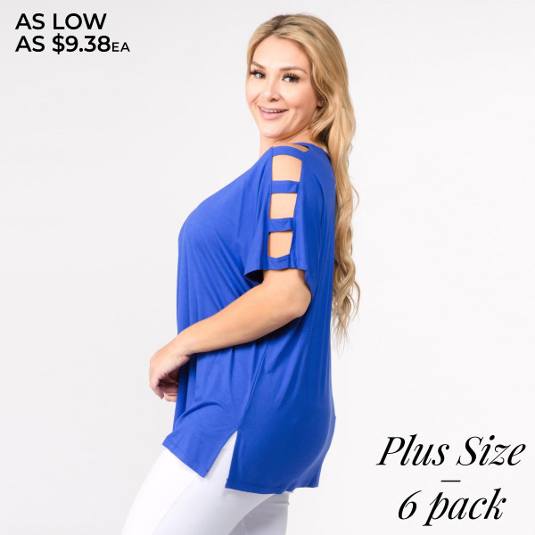 "Solid short sleeve oversized silhouette featuring dolman sleeves with cut out details. Approximately 27"" in length.  • Short dolman sleeves with cut out detail  • Round neckline  • Side slit accents on hem  • Oversized silhouette  • Soft and comfortable  • Imported    - Pack Breakdown: 6pcs / pack   - Sizes: 2-XL / 2-1XL / 2-2XL   - Composition: 95% Rayon, 5% Spandex"