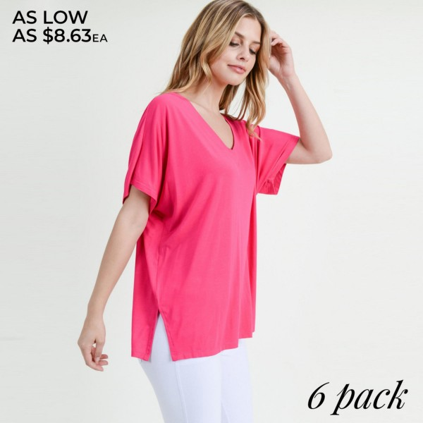 "Solid short sleeve oversized v-neck tee with side slit details.   • Short sleeves, v-neck  • Oversized silhouette  • Side slit accents  • Soft and stretchy  • Pullover styling  • Style with leggings or jeans for an effortless look  • Soft and stretchy  • Imported   - Pack Breakdown: 6pck/pack - Sizes: 2-S / 2-M / 2-L - Approximately 25"" L - 95% Rayon, 5% Spandex"