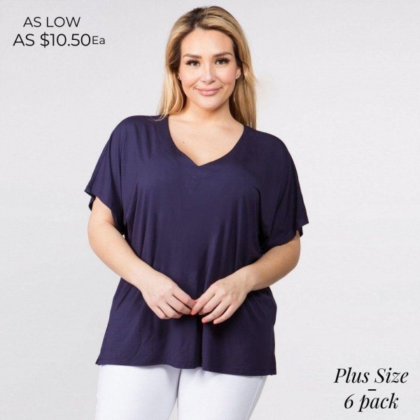 """Solid short sleeve plus size oversized v-neck tee featuring side slit details. Approximately 25"""" in length.  • Short sleeves, v-neck  • Oversized silhouette  • Side slit accents  • Soft and stretchy  • Pullover styling  • Style with leggings or jeans for an effortless look  • Soft and stretchy  • Imported   - Pack Breakdown: 6pcs / pack  - Sizes: 2-XL / 2-1X / 2-2X  - Composition: 95% Rayon, 5% Spandex"""