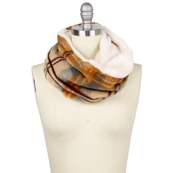 "Faux fur double side plaid print tube scarf.  - Approximately 13.75"" W x 11.75"" L - 100% Polyester"