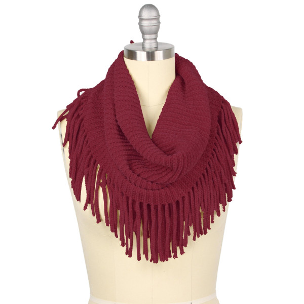 "Two tone mini tube scarf with fringes.  - Approximately 27"" x 12"" Loop - 100% Acrylic"