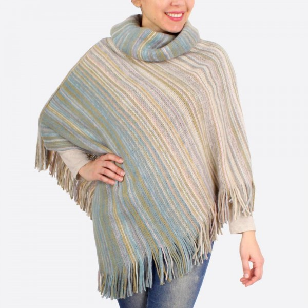 """Multicolor knit poncho with fringes.  - One size fits most 0-14 - Approximately 40"""" in length - 100% Acrylic"""