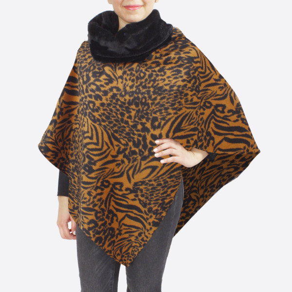 "Faux fur animal print cowl neck poncho.  - One size fits most 0-14 - Approximately 31"" in length - 100% Polyester"