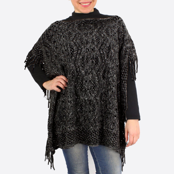 """Two tone knit poncho with fringes.  - One size fits most 0-14 - Approximately 25"""" in length - 100% Acrylic"""