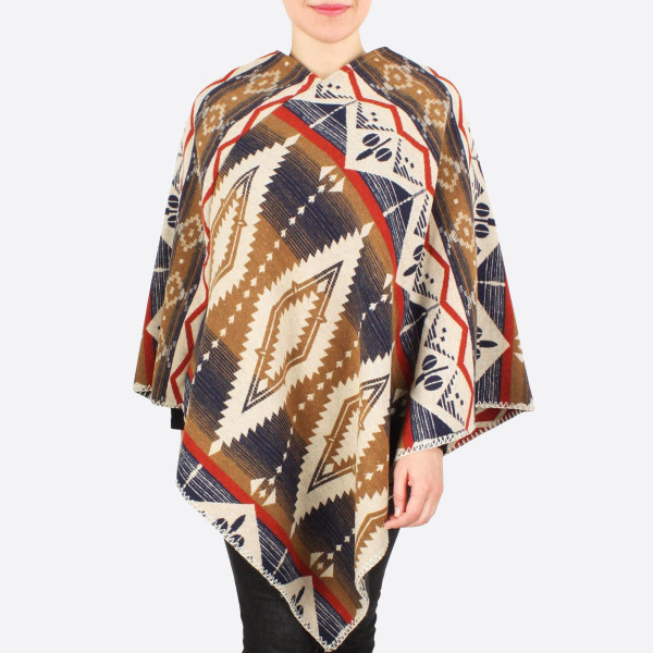 "Western pattern poncho.  - One size fits 0-14 - Approximately 34"" in length - 100% Polyester"