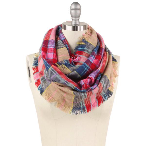 """Plaid infinity scarf.  - Approximately 15.75"""" W x 31.5"""" L - 100% Acrylic"""