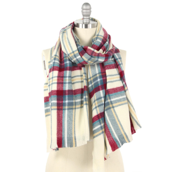 "Plaid oblong scarf.  - Approximately 25.5"" W x 70.5"" L - 100% Polyester"