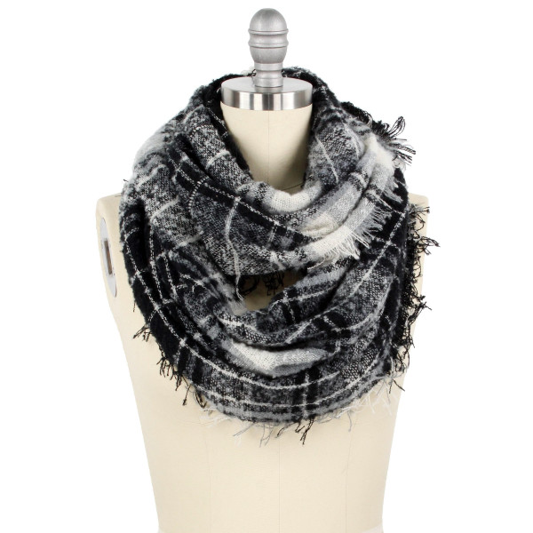 "Plaid pattern wide infinity scarf.  - Approximately 25.5"" W x 33.5"" L - 100% Polyester"