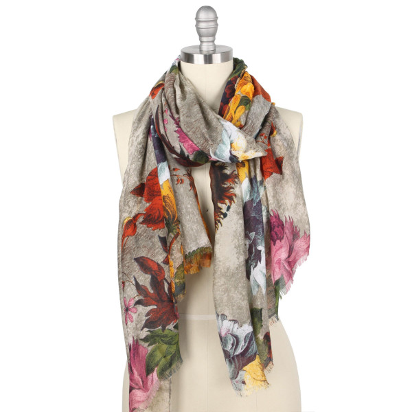 "Lightweight floral vintage print scarf.  - Approximately 35.5"" W x 70.5"" L - 100% Polyester"