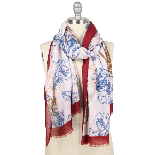 "Lightweight floral print scarf.  - Approximately 33"" W x 70.5"" L - 100% Polyester"